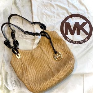 Michael Kors Crochet Straw Bag with Patent Leather